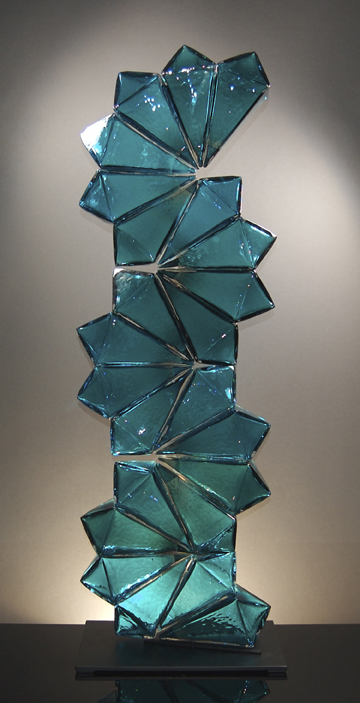 "Richard Royal, ""Aqua Tower Blush,"" 2014 Geometric Series, 50 x 17 x 11 inches"